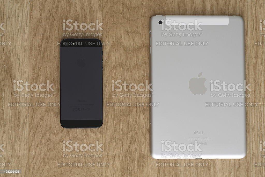 iPhone 5 and iPad Mini royalty-free stock photo