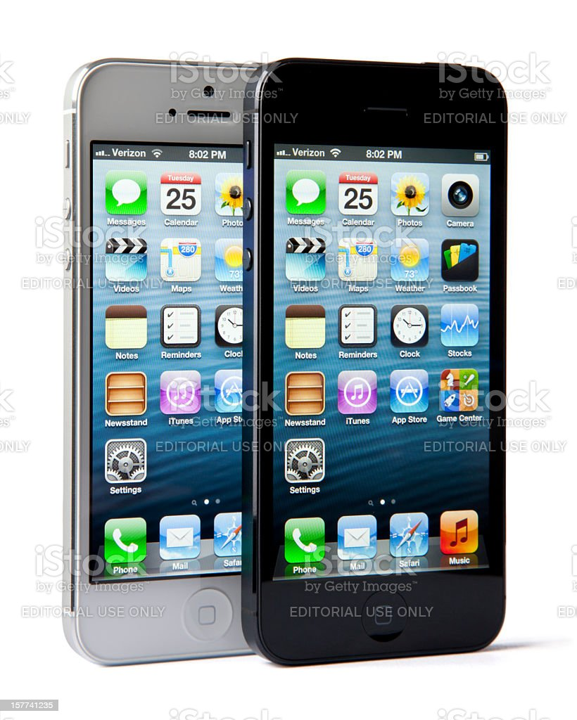 iPhone 5 - White/Silver and Black/Slate Models royalty-free stock photo