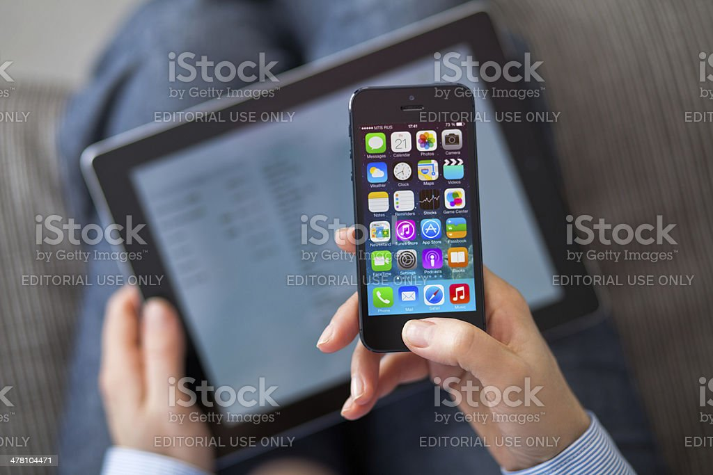 iPhone 5 with iOS 7 royalty-free stock photo