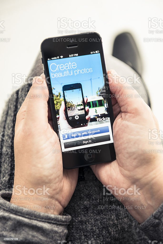 Iphone 5 with the Flickr app royalty-free stock photo
