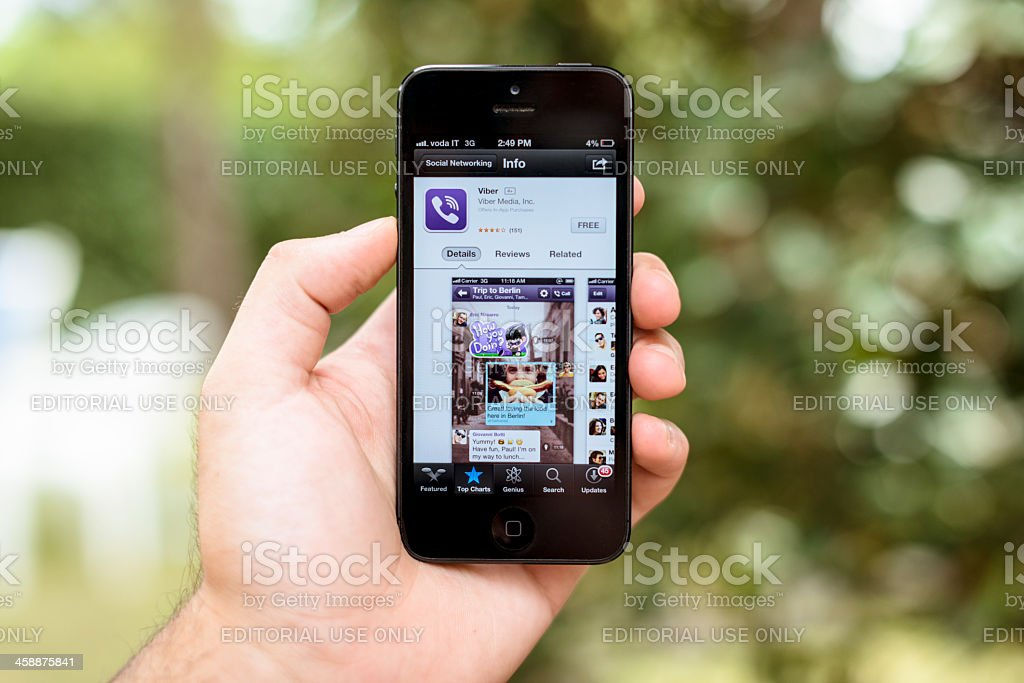 Iphone 5 with Viber app on applestore royalty-free stock photo