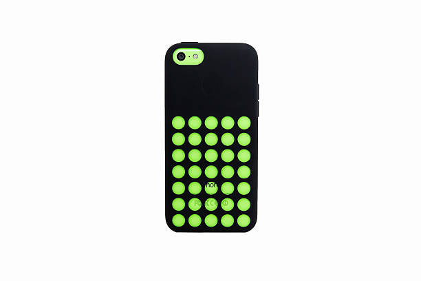 iPhone 5C Green Color with Apple Black Case stock photo