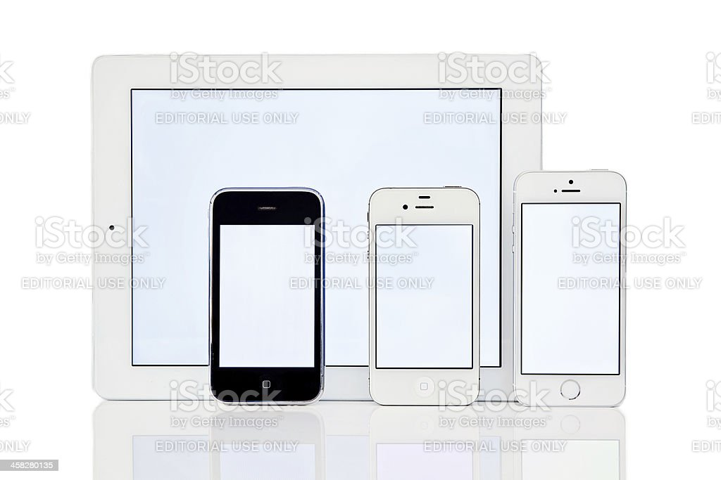 iPhone 5s, 4s, 3gs and iPad stock photo