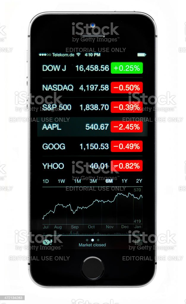 iPhone 5s displaying stock charts stock photo