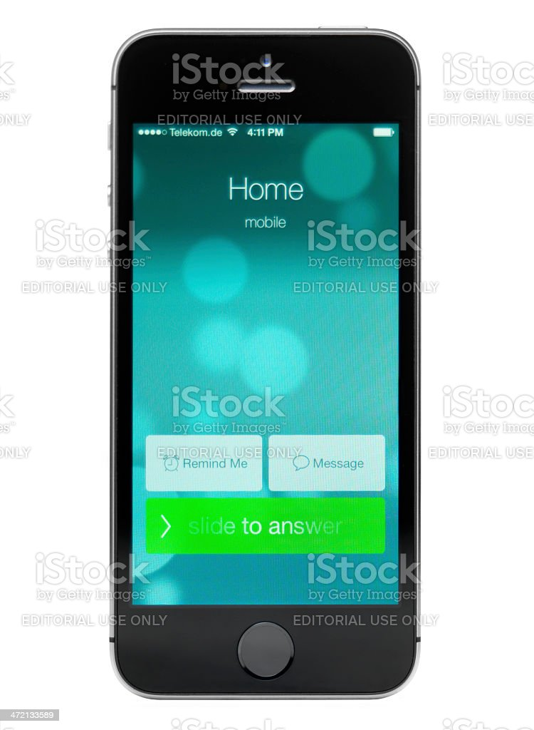 iPhone 5s showing an incoming call stock photo
