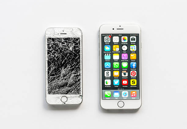 iphone 6 and broken iphone 5s - broken iphone stock photos and pictures