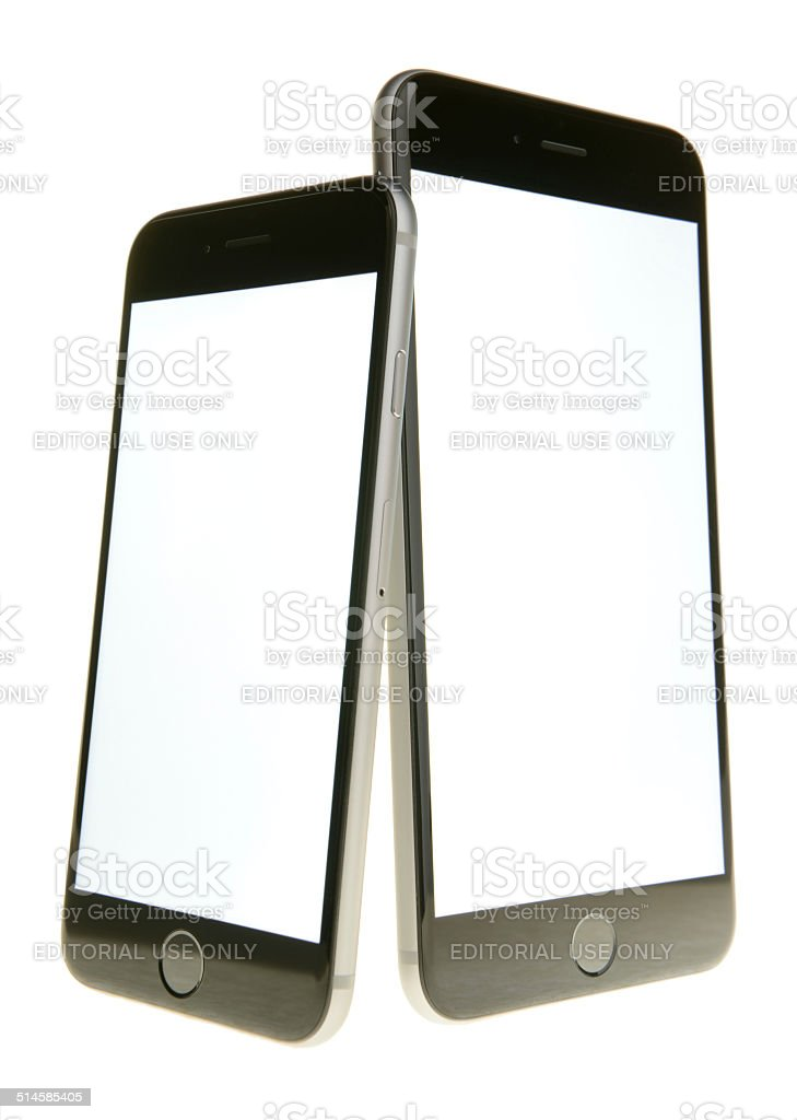 iPhone 6 and iPhone 6 Plus With White Screens stock photo