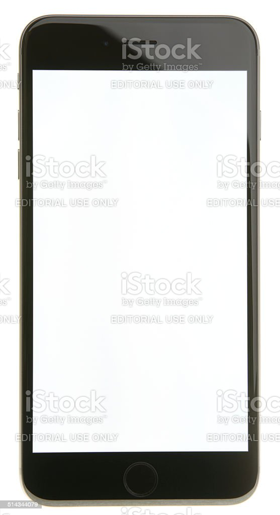 iPhone 6 Plus in Space Gray with Blank Screen stock photo