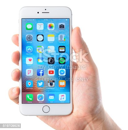 istock iPhone 6 Plus smart phone on hand 519709526
