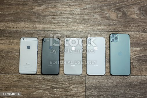 istock iPhone 6 through iPhone 11 PRO MAX lineup. 1178840136