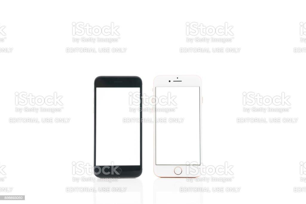 iPhone 6 vs.iPhone 8 stock photo