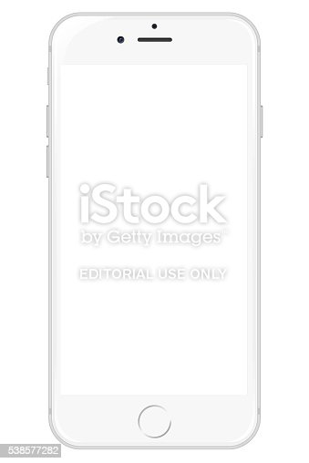 Pedavena, Italy - December 29, 2015: White iPhone 6 showing a blank white screen. Isolated on white. Clipping path included.