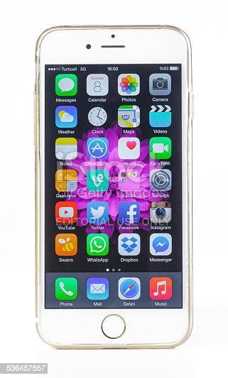 Istanbul, Turkey - February 8, 2015: A front view of a iPhone 6 smartphone isolated on white background. iPhone is a smart cellular phone produced by Apple Computer Inc.