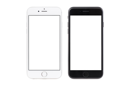 Sofia, Bulgaria - September 23, 2016: Studio shot of side by side iPhone 6s white color, and iPhone 7 black color. The devices are with blank screens and isolated on white background.