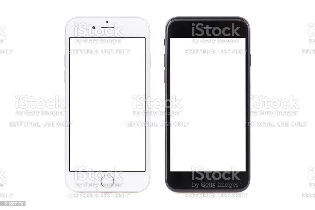 iPhone 6s white and iPhone 7 black stock photo