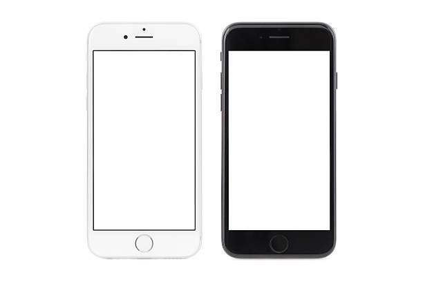 iPhone 6s white and iPhone 7 black Sofia, Bulgaria - September 23, 2016: Studio shot of side by side iPhone 6s white color, and iPhone 7 black color. The devices are with blank screens and isolated on white background. blank screen stock pictures, royalty-free photos & images