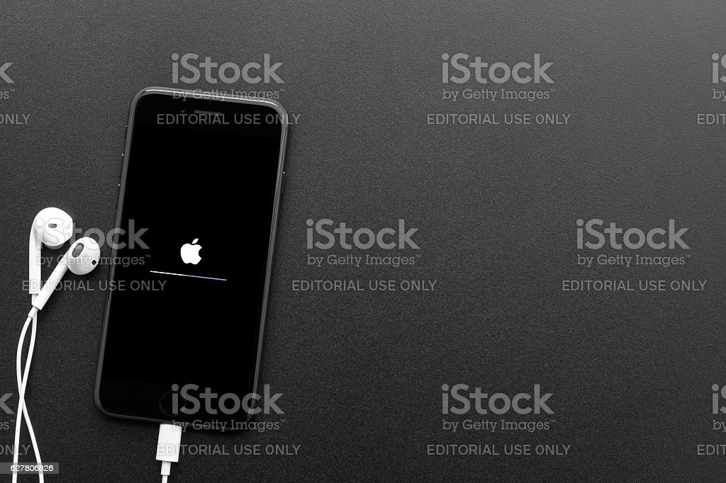 iPhone 7 showing screen starting system on top view stock photo