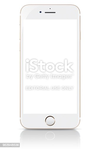 Studio shot of a gold iPhone 8 showing a blank screen. It is a smart phone produced by Apple Computer Inc.
