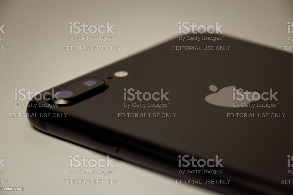 iPhone 8 Plus Laying Down - Back Close Up stock photo