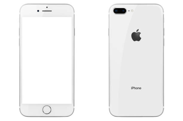 iPhone 8 Plus Silver Isolated on White stock photo