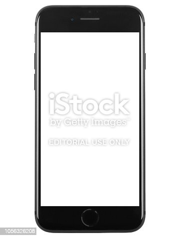 Studio shot of a dark gray iPhone 8 Plus front view with blank white screen. Specs: size 5.5 inches, resolution 1080 x 1920 pixels 16:9 ratio, camera 12MP. It is a smart phone produced by Apple Computers Inc and released in 2017, September.
