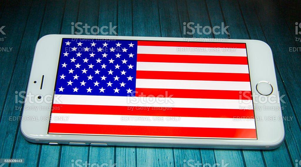 iphone american flag stock photo