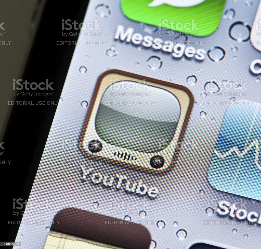 iPhone App for YouTube royalty-free stock photo