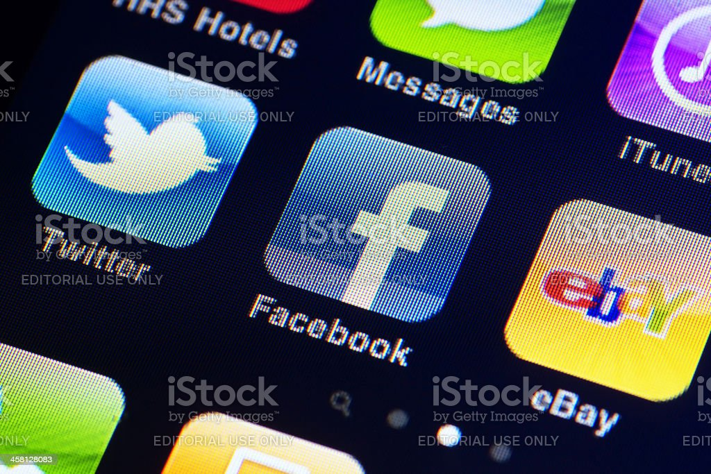 Iphone display with apps stock photo
