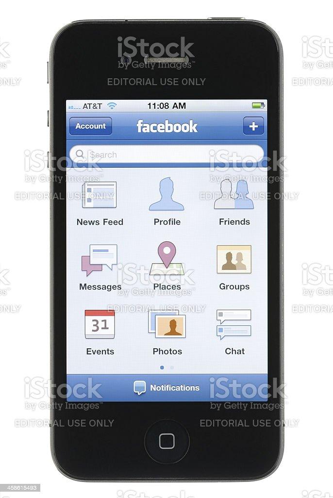 iPhone Facebook App royalty-free stock photo