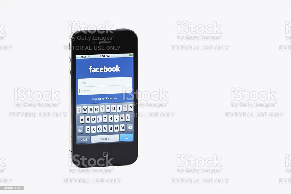 iPhone Four In A Standard Product Shot With Facebook App royalty-free stock photo