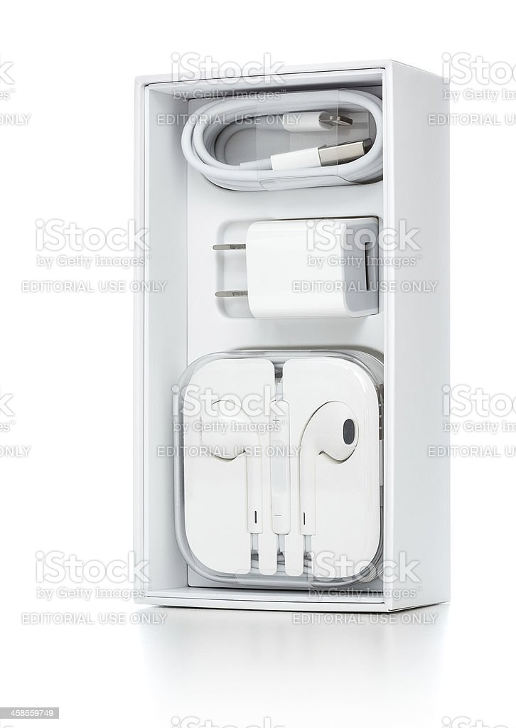 iphone headphones and charger royalty-free stock photo