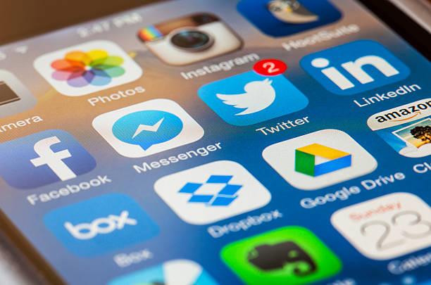 iPhone Homescreen Macro stock photo