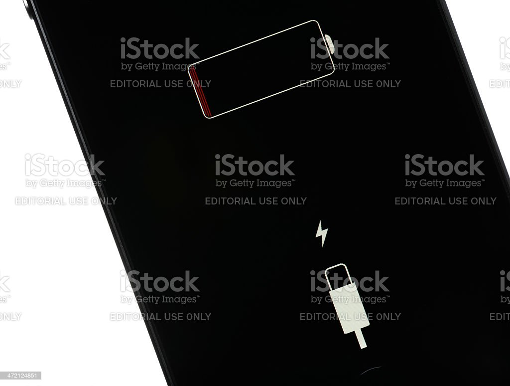 iPhone Low Battery stock photo