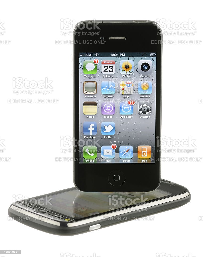 iPhone over Android royalty-free stock photo