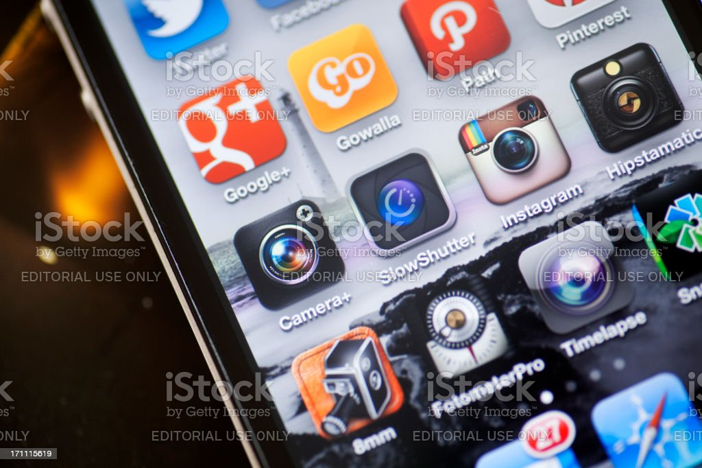 iPhone Photo and Social Media Apps royalty-free stock photo