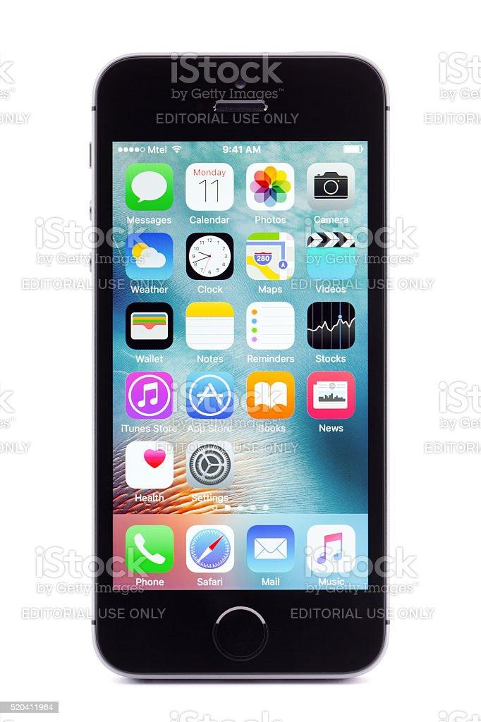 Iphone SE on white background stock photo