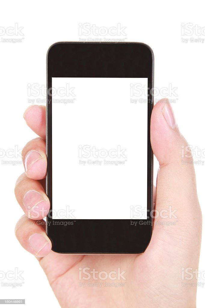 IPhone smartphone in a hand with a white screen royalty-free stock photo