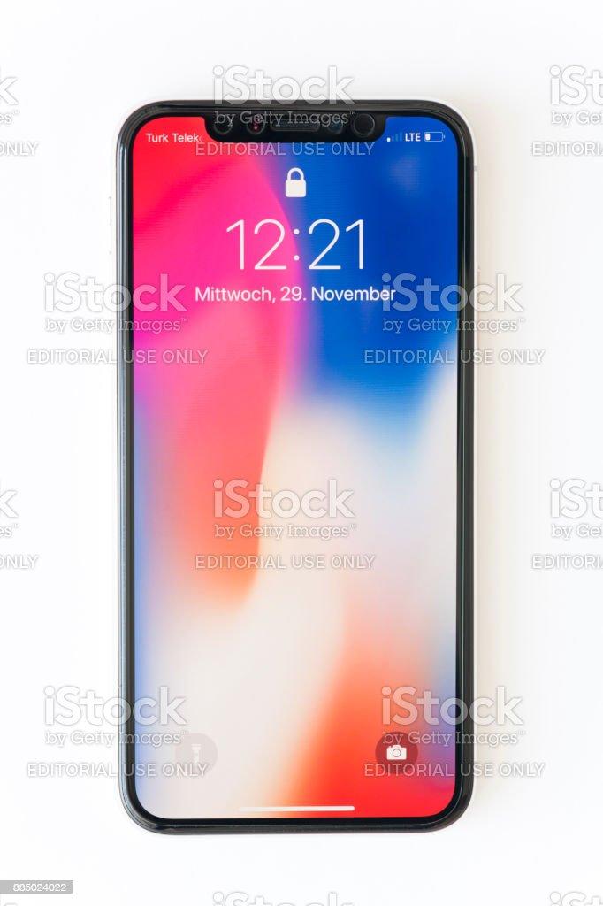 Iphone X Silver (German Language) stock photo