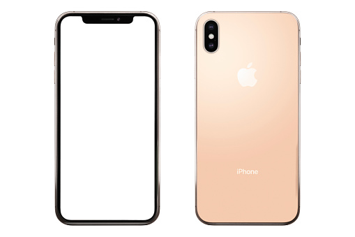 Studio shot of a gold color iPhone XS Max. Front and back view. 6.5 inch Super Retina HD display and 1242 x 2688 pixels resolution. It is a smart phone produced by Apple Computers Inc and released in 2018, October. Isolated on white.
