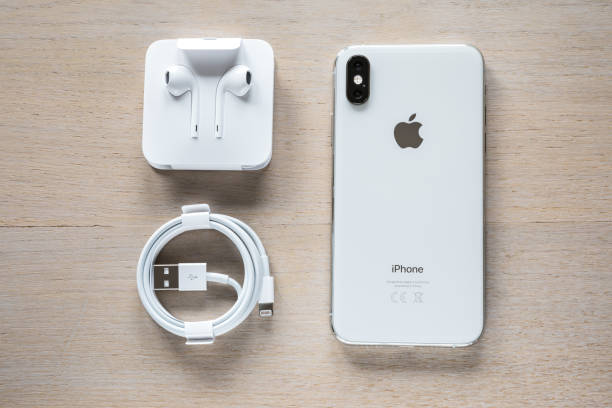 iPhone XS Silver Unpacked stock photo