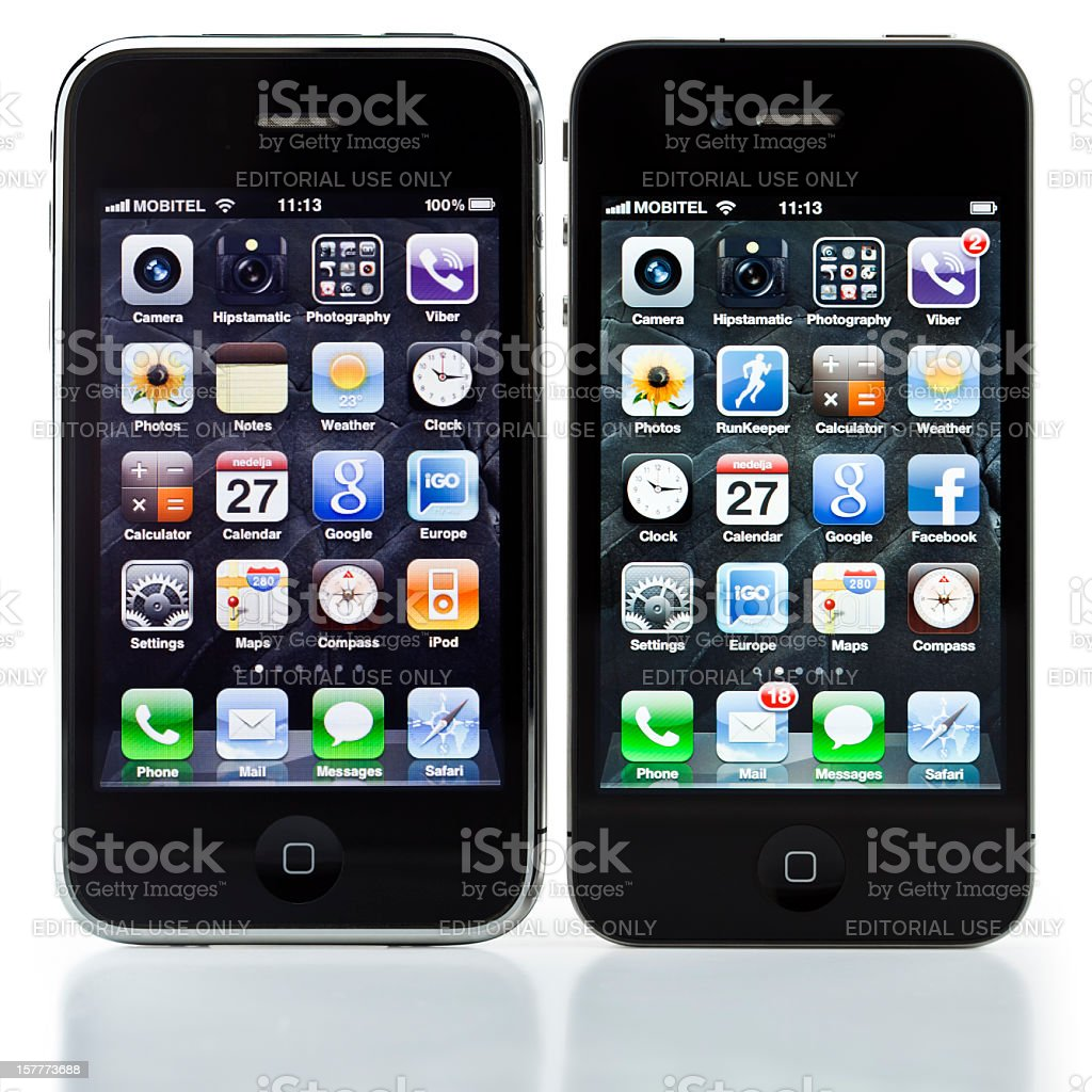 iPhone3GS vs. iPhone 4, isolated, clipping path stock photo