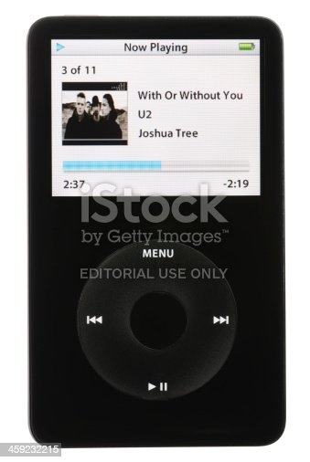 Colorado Springs, Colorado, USA - May 25, 2011: A front view of an Apple iPod playing an MP3 audio file. The music being played is With Or Without You by U2. The iPod in this photo is a fifth generation Apple iPod. This model was the first iPod with video playback capabilities.