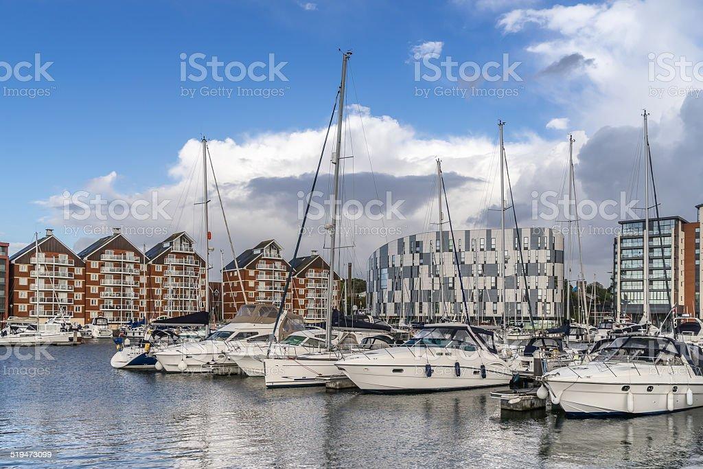 Ipswich Marina and waterfont stock photo