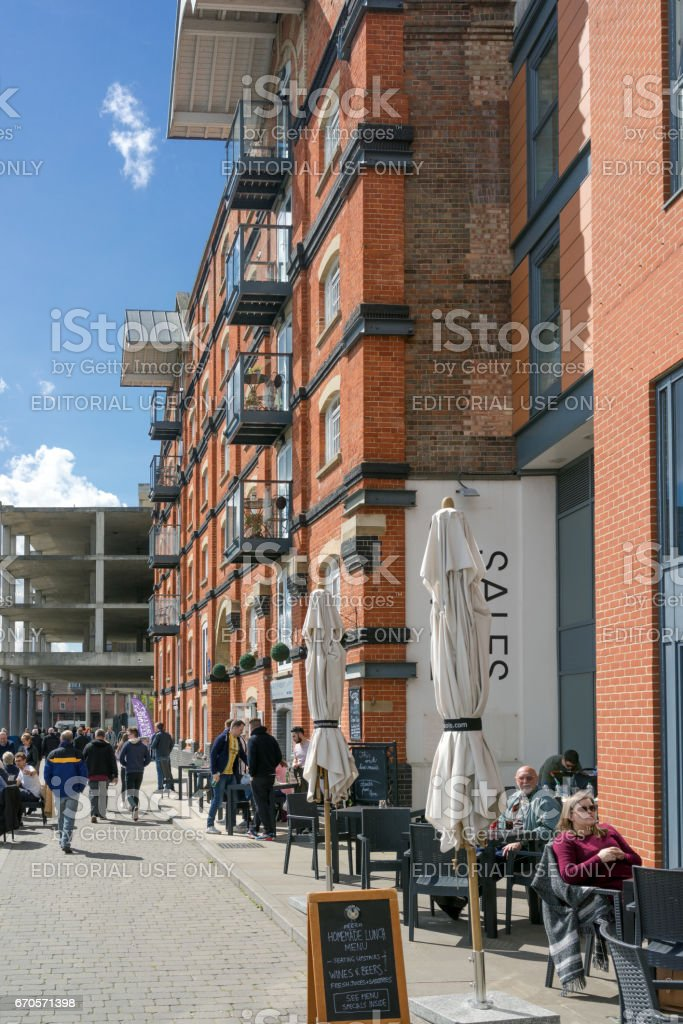 Ipswich Marina in Ipswich, UK on a warm spring day stock photo
