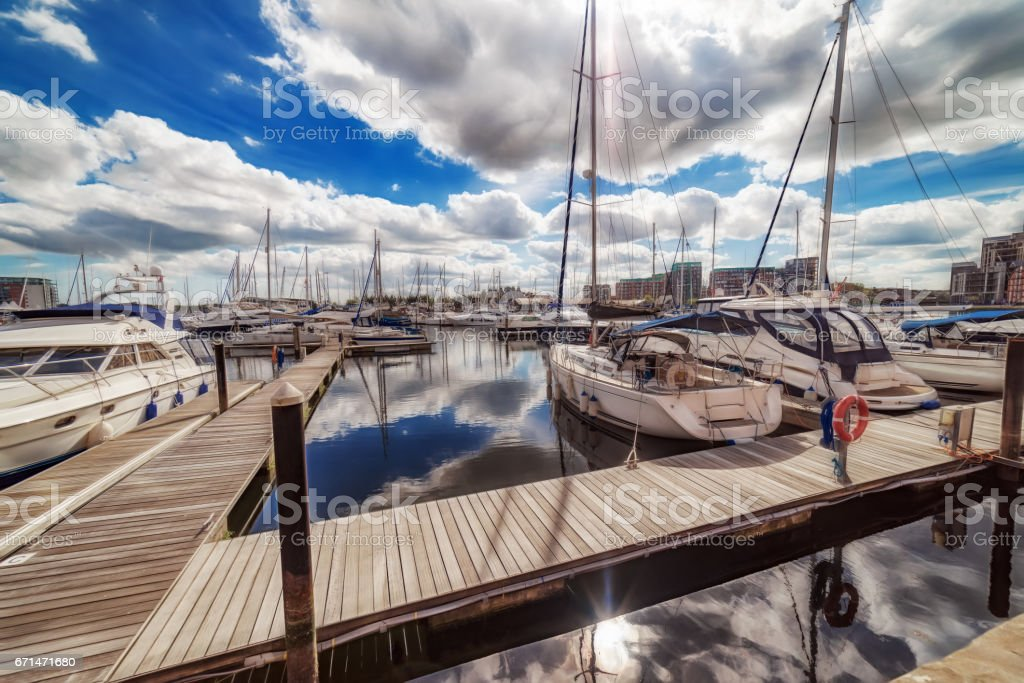 Ipswich Marina waterfront on a vibrant spring day stock photo