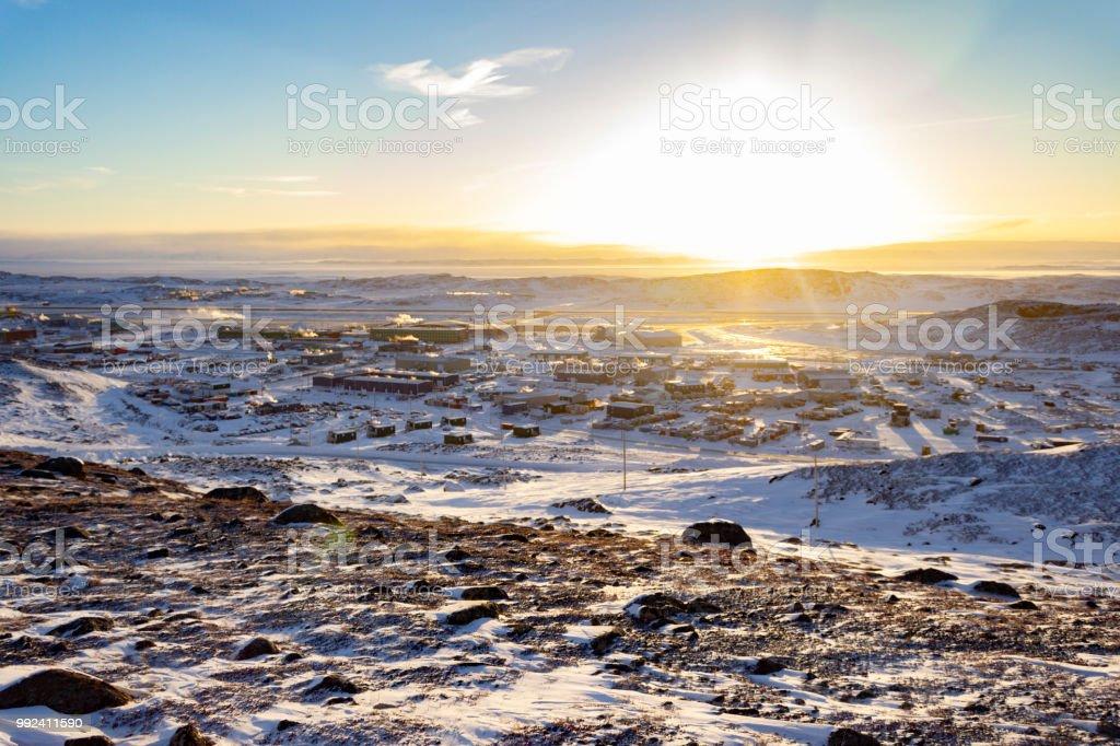 Iqaluit Airport Sunset stock photo