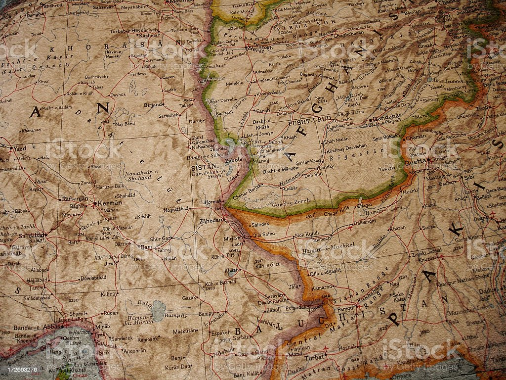 Iran, Afghanistan, Pakistan Borders royalty-free stock photo