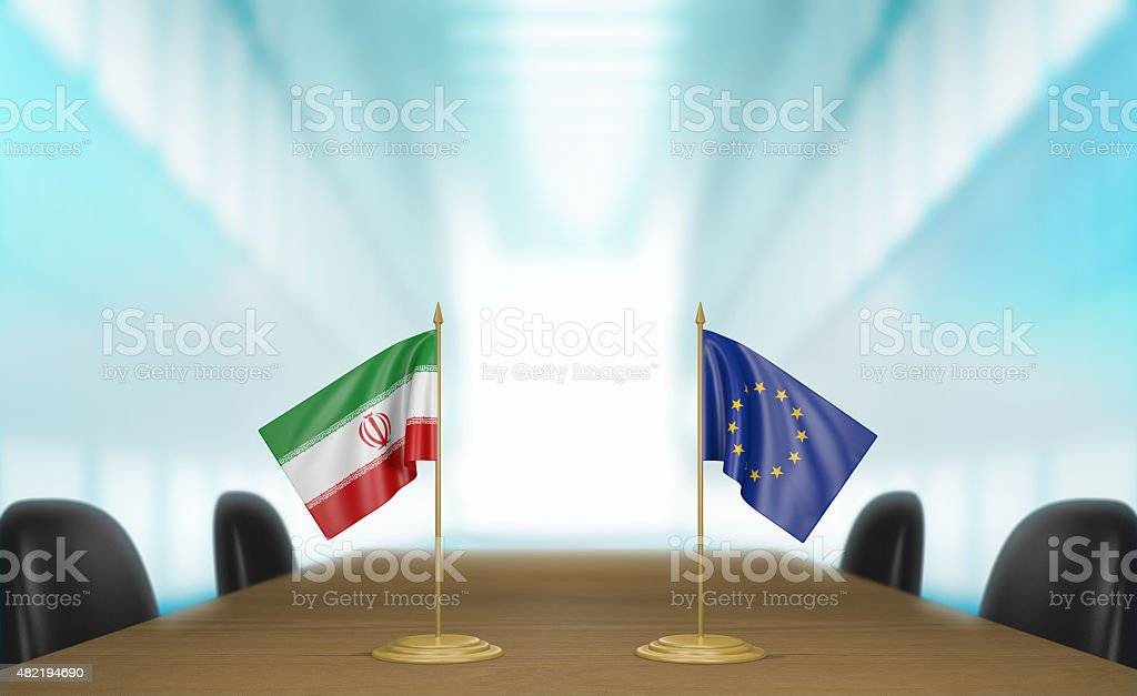 Iran and Europe relations and trade deal talks 3D rendering stock photo