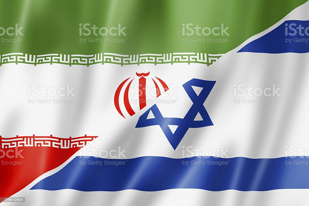Iran and Israel flag stock photo