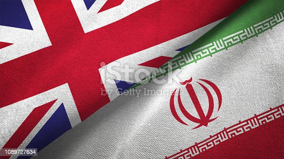 Iran and United Kingdom flag together realtions textile cloth fabric texture